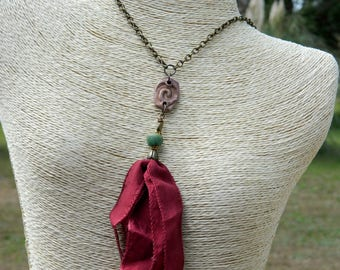 "52"" Burgundy Silk Ribbon Boho Tassel Necklace"