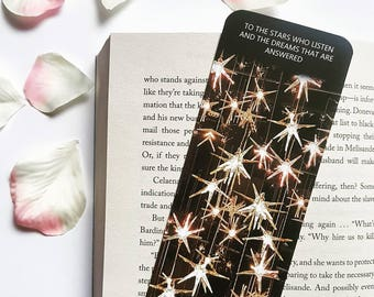 A court of mist and fury bookmark (to the stars who listen and the dreams that are answered)