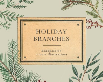 Holiday Branches watercolor clipart • christmas wedding clipart • invitation clipart • handpainted illustration • gift tag clipart•botanical