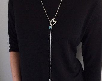 Extra Long Arrow Necklace, Long Arrow Lariat Necklace, Extra Long Necklace,  Silver Y Necklace, Silver Arrow Necklace, Double Arrow, Gifts