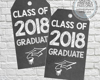 Printable graduation gift tags class of 2017 high school printable graduation gift tags class of 2018 high school college party favor graduation favor tags chalkboard gift tags 2018 graduate negle Gallery
