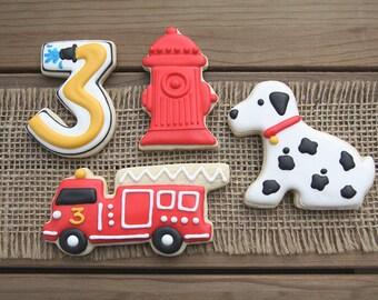Fire Truck Cookies / Fire Truck Birthday / Fire Truck First Birthday / Fire Truck Party / Fire Truck Favor / Dalmatian Cookies / Fire Truck