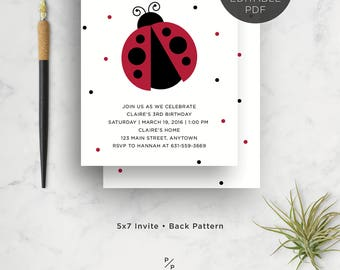 Text Editable, Lady Bug Invite, Birthday Party Invitation, Baby Shower Invitation, Red, 5x7, Printable, Instant Download