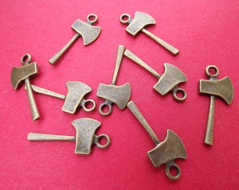 6 charms axes in metal bronze