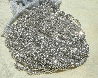 """3 Strands 14x3=42"""" Super Finest Mystic Silver Pyrite Micro Faceted Rondelles Size 3.5mm approx, Silver Pyrite Beads, Semiprecious Beads"""
