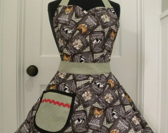 Womens Apron-Farmers Market-Full Sweetheart Apron
