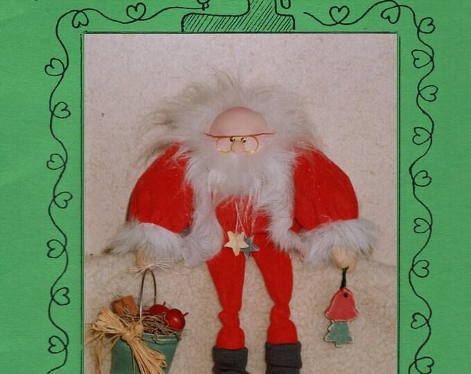 "Wood Yarn Craft Sewing Pattern Free Us Ship Doll Christmas 12"" Tall St. Nick Whimsical 112 1992 Uncut"