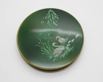 Swans on Lake Round Vintage Brass Tone Mirror Powder Compact