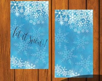 Let It Snow iPhone Wallpaper art / Christmas Phone Wallpaper Art / Snowflake phone art / Watercolor phone art / Home screen / Lock Screen