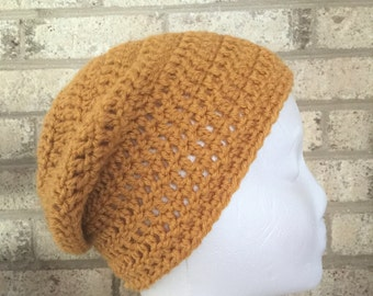 Ready To Ship Slouchy Hat Slouchy Beanie Mustard Small Slouch Crochet Hat Beanie Women's Crochet Hat Accessories Gifts For Her