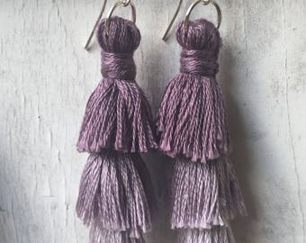 Purple reverse ombré tassel earrings