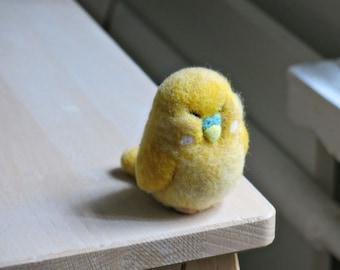 Parakeet - felted bird - figurine of wool bird - bird parrot