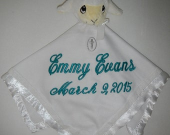White Lamb Plush Blanket - Precious Moments Security Blanket Jesus Loves me Christening Lovey- Personalized