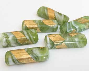 Glass Beads Rectangle Gold Foil-2pc