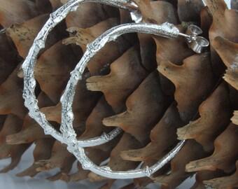 Silver Twig Hoop Earrings-Twig Earrings-Hoop Earrings-Woodland Earrings