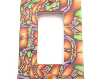 Light Switch Cover, Rocker Switchplate, Single Switch Plate, Ombre Tangerine with Pale Greens and Lavender