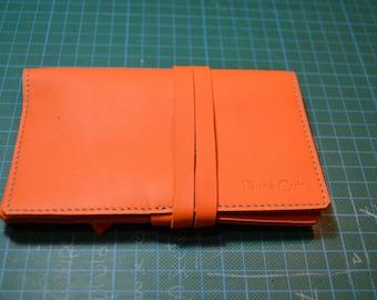 Leather tobacco pouch orange