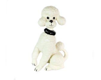"Vintage Ceramic Poodle, White with Black Rhinestone Collar, Retro Poodle Dog, 11""H, Dog Lover Gift"