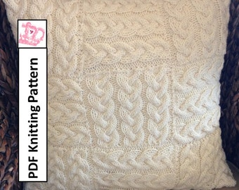 "Cable knit pillow cover, knit pattern pdf, Braided Blocks 20""/50cm square pillow cover - PDF KNITTING PATTERN"