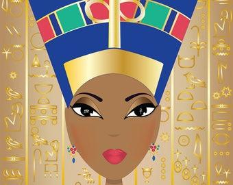 Nefertiti - Large Original Art Print - Jaishi (AfrosAndButterflies) - Highly Collectable