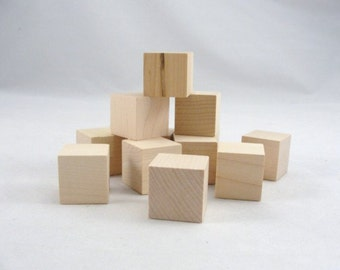 """One inch 1"""" wooden block, unfinished wood blocks, wooden cube, wood cubes set of 24"""
