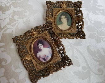Vintage Woman Portrait Cameos Wall Art Prints By Cameo Creation In Ornate Gold Frames Set of 2 By Sir Thomas Lawrence, Blessington Conyngham