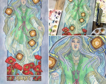 Original Art 10x20 Watercolor Painting Lady of August Art Nouveau Birthstone Series with Floating Lanterns, Priestess, and Poppies
