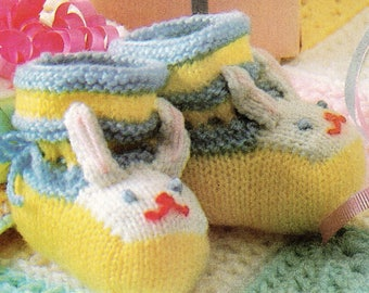 Vintage Bunny Rabbit Baby Booties KNITTING PATTERN Cute Bunnies! 0-12 Months Digital e-pattern Instant Download
