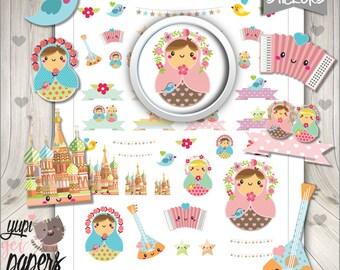 Matryoshka Stickers, Planner Stickers, Russian Doll, Doll Stickers, kawaii Doll, Printable Stickers, Planner Accessories, Stickers