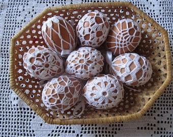 Crochet Easter Egg Cover, Crochet Easter Egg Cover, Set of 8 Hand Crocheted Easter Eggs Easter Decoration white