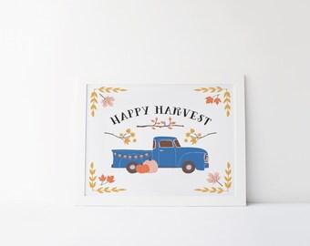 happy harvest printable · vintage truck wall art · pumpkin printable · autumn decor · fall art print · harvest time · seasonal wall decor
