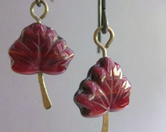 Maple Leaf Earrings, Natural Brass Earrings, Red Maple Leaf, Fall Earrings, Autumn Earrings, Earthy and Natural, E 220A