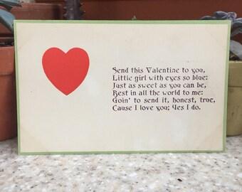 Antique Red Heart Valentine Postcard