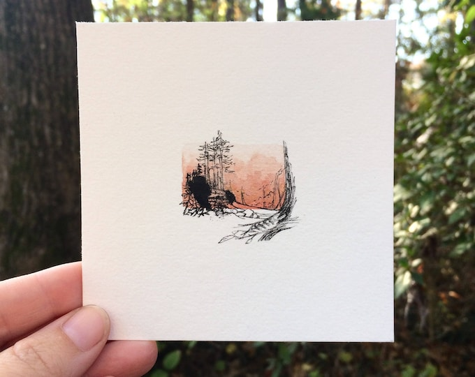 Overawed / original tiny art watercolor + ink sketch / trees, rocks, landscape + feather