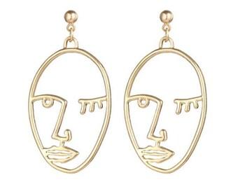 Face Earrings Picasso Face Earrings Statement Earrings Best Selling Item SimpleNGreat