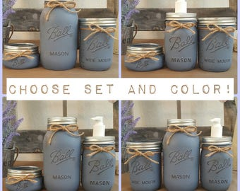 3pc Distressed Painted Mason Jar Bathroom Set   Vase Soap Dispenser Cotton  Ball Swab Holder Toothbrush