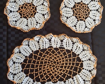 Vintage Crocheted Doilies Set of Three (3) White and Orange