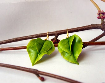 Leaf Jewelry - Green Leaf Earrings, Gift Ideas For Her, Nature Earrings