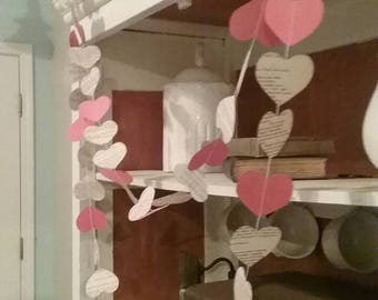 Valentine's Heart Banner / Garland from Pages of Shakespeare