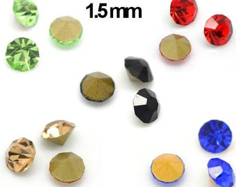 20 rhinestone faceted Taille1.5 mm color choice