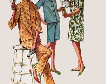 Vintage Pajamas or nightshirt with Monogram Transfer Sewing Pattern McCalls 6655 60s Misses and Juniors Sewing Pattern Size 13 B33
