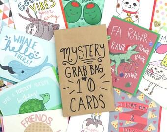 Mystery Grab Bag, 10 Cards, Christmas, Surprise Box, Blind Bag, Assortment, Random Bag, Birthday Cards, Random Box, Greeting Cards, Grab Bag
