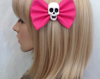Hot pink skull hair bow clip rockabilly psychobilly gothic Lolita rock bright punk pin up girl cute vintage skeleton fabric girls