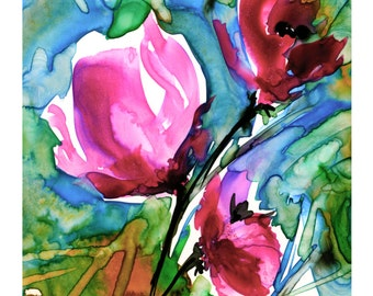 Floral No. 9 ... Flower art archival print from original painting by Kathy Morton Stanion EBSQ