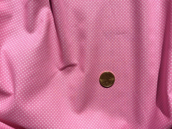 High quality cotton poplin printed in Japan, pink/white polka dots