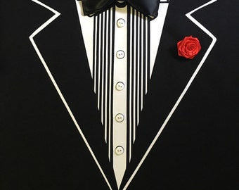Tuxedo T-shirt, Adult_ Prom_  Ribbon bow tie and Flower_wedding tuxedo_ bachelor party_Christmas_groom shirt_ Quinceanera_New Years