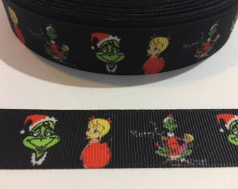 "3 Yards of 7/8"" Ribbon - Black Grinch Who Stole Christmas with Cindy Lou"