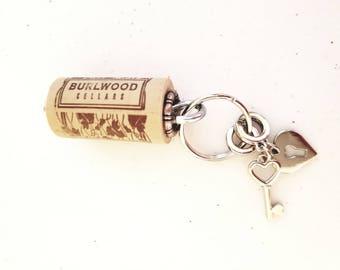 Wine Cork Key Chain, For The Wine Lover, Locket Cork Key Chain