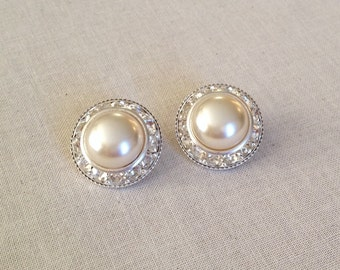 Clip OR Post champagne pearl rhinestone earrings, bridal, halo earrings, vintage, rhinestone, vintage pearl, Czech, beige