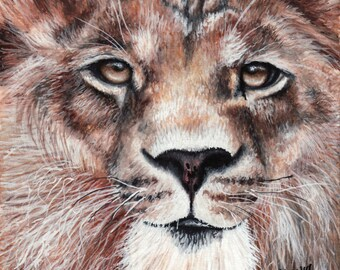Limited Edition Print of Original Lion Watercolor Painting